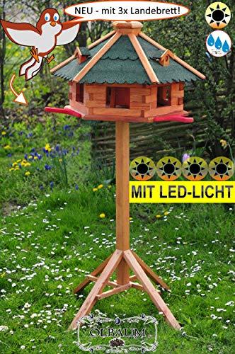 BTV Ölbaum Garten-Vogelhaus-Blockhaus, Anflugbrett + LED-mit Ständer