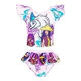 Toddler Princess Two Piece Bathing Suit for Girls Swimsuit Cartoon Ruffle Swim Set Summer Beach