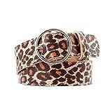 TENDYCOCO Cinturón con estampado de leopardo ancho cinturón de guepardo cinturón de cintura para mujer cinturón de cuero de pu para mujer