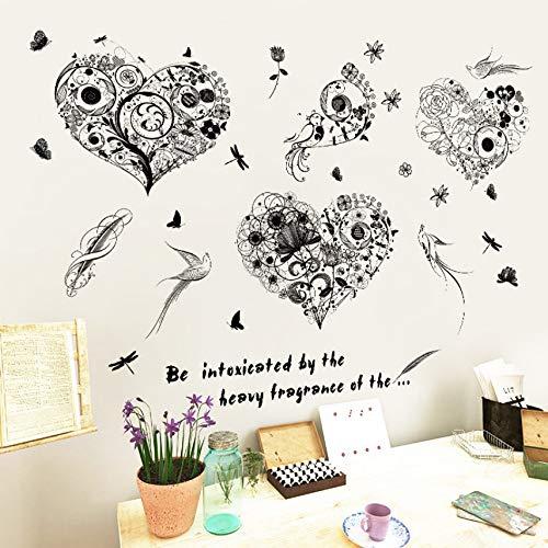 Zyzdsd Schwarze Blume Reben Liebe Schmetterling Wandtattoo Fenster Tv Couch Hintergrund Wandaufkleber Home Decor Wandaufkleber Wandbild