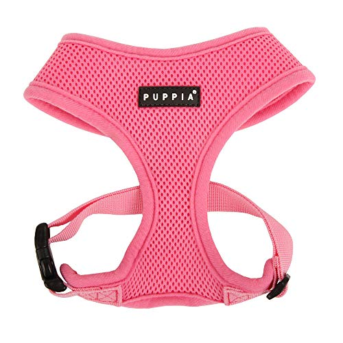 Puppia Soft Dog Harness No Choke Over-The-Head Triple Layered Breathable Mesh Adjustable Chest Belt and Quick-Release Buckle, Pink, Small