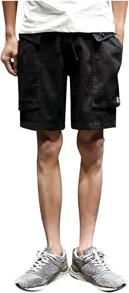 MOOKO Mens Big and Tall Cargo Shorts Multi-Pocket Elastic Waist Relaxed Fit Cargo Shorts Outdoor Hiking Capri Cargo Shorts