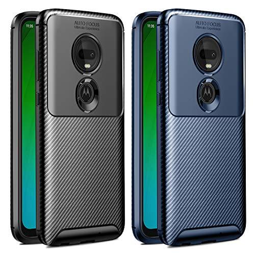 VGUARD [2 Stücke] Hülle für Motorola Moto G7 / Moto G7 Plus, Stylisch Karbon Design Schutzhülle Cover Robuste Soft Flex TPU Silikon Handyhülle Case für Motorola Moto G7 / G7 Plus (Schwarz+Blau)