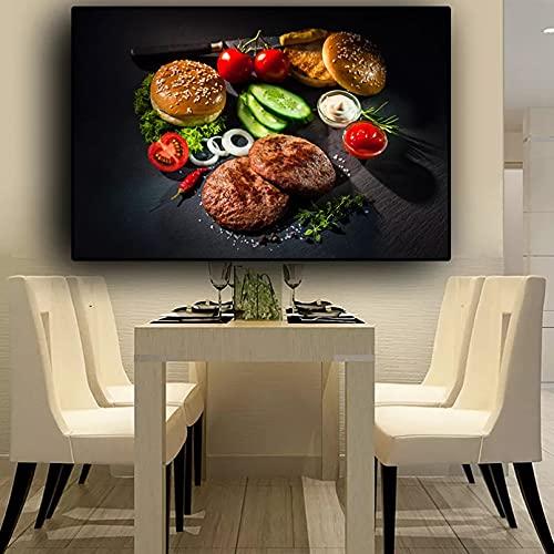 YYBFQZ Lienzo arte cartel carne vegetal cuchillo y tenedor cocina lienzo pintura pintura carteles e impresiones arte pared comida imagen salón animales frameless decoración del hogar