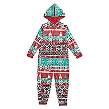 KMKM Conjunto de pijama de Navidad para familias, con capucha y cremallera, rojo6, 8 años