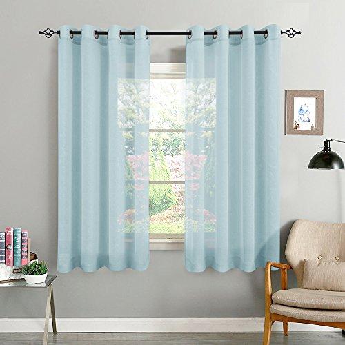 TOPICK Hell Blau Kurze Gardinen Vorhang für Wohnzimmer transparent mit Ösen Ösenschal dekoschal Voile 145 x 140 cm (H x B) 2er Set