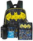 DC Boys Batman 5-Piece 16' Backpack Lunch Kit Set (Black/Yellow)