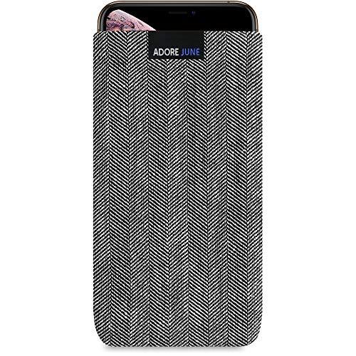 Adore June Business Tasche für Apple iPhone XS Max Handytasche aus charakteristischem Fischgrat Stoff - Grau/Schwarz | Schutztasche Zubehör mit Bildschirm Reinigungs-Effekt | Made in Europe