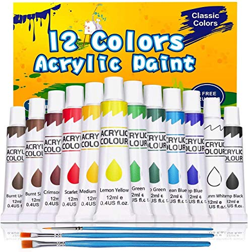Acrylic Paint Set, Emooqi 12 Vibrant Colors, 3 Brushes, Rich Pigments, Non Fading Paints for Artist, Hobby Painters & Sudents, Ideal for Canvas Painting