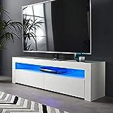 Bakaji Mobile TV in Legno con Ripiano Porta DVD Console Videogiochi + 2 Ante Ribalta Mobiletto Televisore con Luce a LED Cambio Colore e Telecomando Design Moderno Bianco Lucido 155 x 46 x 40 cm