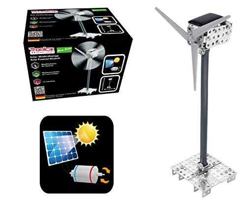 TRONICO Metallbaukasten Solar Windmühle Windkraftanlage Konstruktionsspielzeug - Mint - STEM - Modellbau - Bauen mit Werkzeug