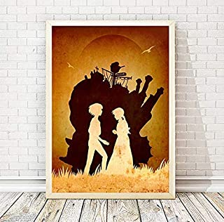 Studio Ghibli Hayao Miyazaki Howl's Moving Castle Minimalist Movie Poster, Artwork Print, Office Decor, Home Decor, Wall Hanging, Cafe Decor