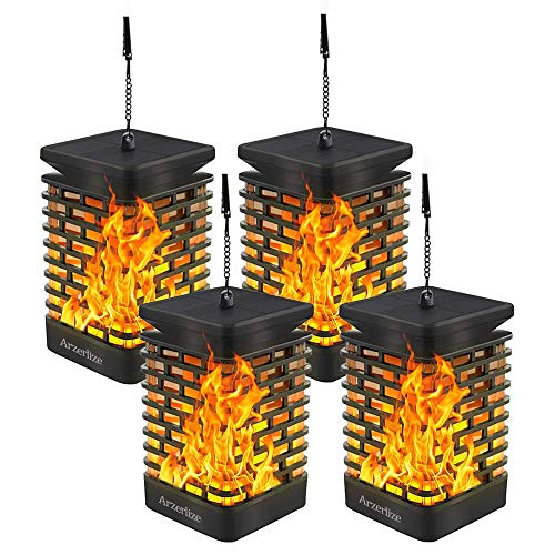 Arzerlize Solar Lanterns Lights Outdoor, 2/P Homey Solar Garden Lights Realistic Flame, Hanging Lantern for Patio, Outside Landscape Easter Yard Art Waterproof Auto On/Off Yellow
