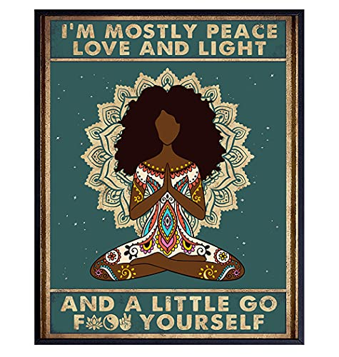 Afro Black Wall Art - African American Wall Decor - Yoga Meditation Gifts for Black Woman, African American Women - Zen Decorations - Spa Namaste Wall Decor - Funny Spiritual New Age Wall Art Poster