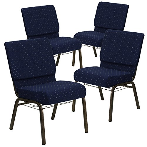 Flash Furniture 4 Pack HERCULES Series 21''W Church Chair in Navy Blue Dot Patterned Fabric with Book Rack - Gold Vein Frame