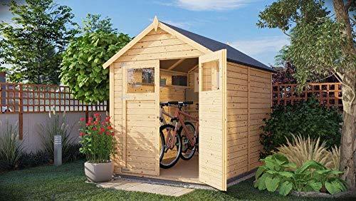 Alpholz Gerätehaus Alisha aus Fichten-Holz | Gartenhaus mit 14mm Wandstärke | Holzhaus inklusive Montagematerial | Geräteschuppen Größe: 202 x 252 cm | Satteldach