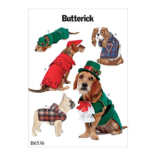 Butterick Dog Christmas Coat and Hat Sewing Patterns, Sizes S-XL