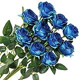 Veryhome 10 Piezas Artificial Seda Rosa Flores Falsas Ramos de Flores para La Decoración de La Boda Home Birthday Party Arrangment Jardín Decoración (Azul, Rosas florecientes)
