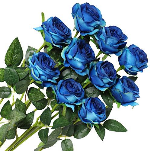 Veryhome 10 Stücke Künstliche Rosen Silk Blumen Gefälschte Flowers Braut Hochzeit Bouquet Für Hausgarten Geburtstag Party Home Wedding Dekor (Blau - Blühende Rosen)