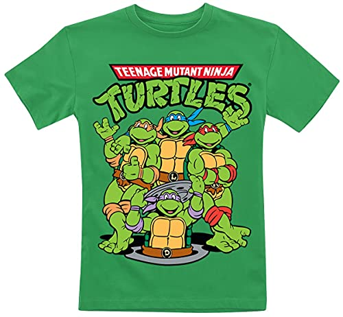Offizielles Lizenzprodukt TMNT Group Unisex Kinder T Shirts - Grün 5/6 Jahre