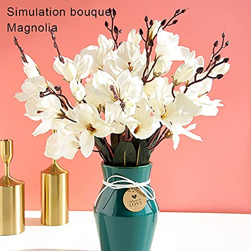HuaTeus Simulation Bouquet Magnolia Flower Silk Cloth Flower with Stems Leaves Fake Greenery Decor for Home Office Party 43cm Decoracion FGTNV (Color : C)