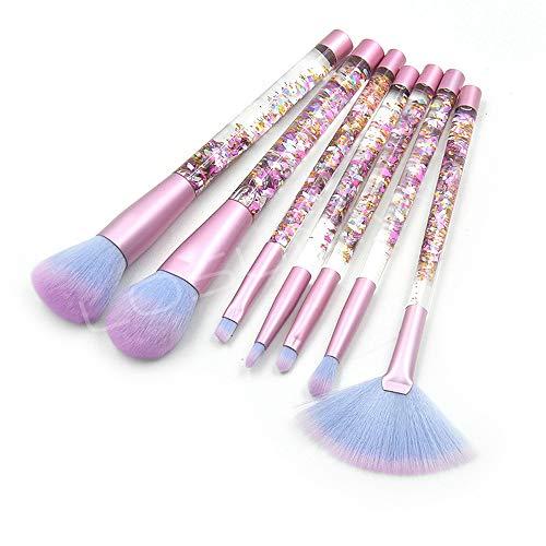 Pinceaux de maquillage femmes 7 pcs/set cristal clair paillettes diamant poignée poignée maquillage pinceau sable sable liquide poignée de remplissage Doux (Color : Bleu, Size : One Size)