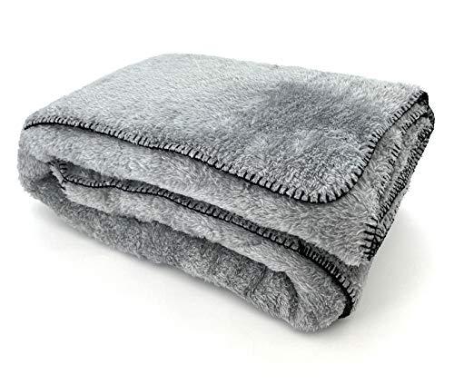 heimtexland ® Kuscheldecke Langfloor Teddy Fleece XL 200x150 Ökotex Plüsch Decke Super Soft Silber Grau Typ716
