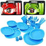 Large Plastic Picnic Camping Party Dinner Plate Mug Cutlery Set, 4 Person