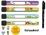 NEU 2020 Notfall-Armband für Kinder mit Stift und Gratis Sticker I 4 Stück I wasserfest I wiederverwendbar I Katzenkind Notfallarmband I SOS Armband zum beschriften I Telefonnummer