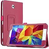 Bestwe Hot Pink Flip Ledertasche Smart Hülle Cover Schutzhülle hüllen für Samsung Galaxy Tab 4 8.0 (8 Zoll) mit automatischer Schlaf/Wach auf Funktion