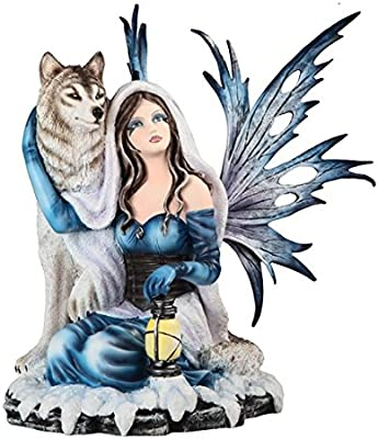 """Major-Q G8091902 13"""" Blue Fairy Sitting with Wolf Statue Figurine Home Decor Sculptures Polyresin"""