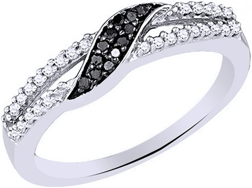 AFFY Black Natural Diamond Fashion Engagement Ring in 10K Solid Gold (0.2 Ct)