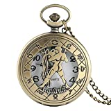 BYSSReloj de Bolsillo con patrón de Zodiaco Vintage Collar Moderno Cadena Cobre Estilo Retro Doce Constelaciones Hombres Mujeres Reloj Relogio RegaloAcuario