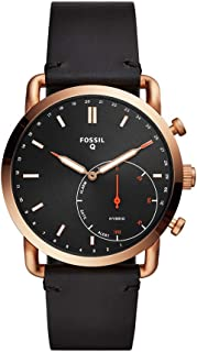 Fossil Q Men's Hybrid Smartwatch Stainless Steel Analog-Quartz Watch with Leather Strap, Black, 22 (Model: FTW1176)