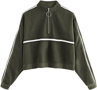 Romwe Women's Zip Front High Neck Tape Striped Detail Crop Sweatshirt