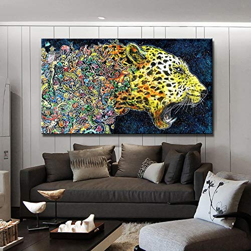 tzxdbh Abstract aquarel felle luipaard posters afdrukken op canvas muur kunst canvas schilderen muur decoratie voor woonkamer frameloze in van G No Frame 30x50cm