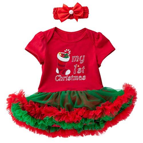 GYPPG Neugeborene Mädchen Weihnachten Strampler Tutu Rock Kurzarm T-Shirt Top und...