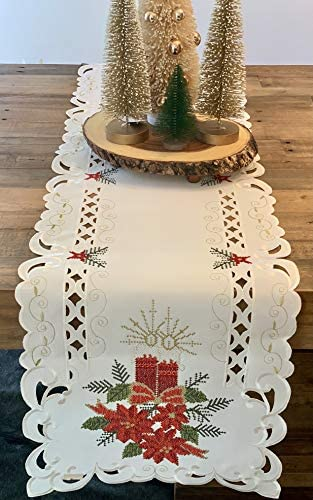 K K TABLETOPS Christmas Poinsettia Cross Stitch Cut Work Table Runner Tablecloth Red Green Gold product image