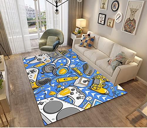 Gamer Alfombras Dormitorio Juvenil Chico Chica Infantiles Niño Juegos 3D Video Alfombras De Habitacion Rectangular Lavables Grandes Pequeñas Alfombras Salon Negro Gris Azul (a,80x120 cm)