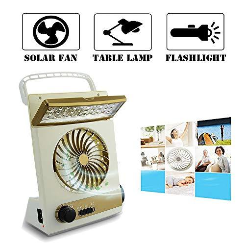 Multifuncional Solar Ventilador de Refrigeración 3 en 1 Linterna Portátil con Protección para Ojos LED Lámpara de Mesa Flash Panel Solar Enchufe de Adaptador para Acampada del Hogar (Dorado)