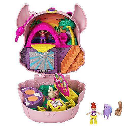 Polly Pocket GKJ50 - Polly Pocket Lama-Musikparty Schatulle, 2 kleine Puppen und Zubehör