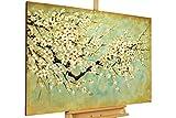 Kunstloft® Cuadro en acrílico Cerezo en Flor 120x80cm   Original Pintura XXL Pintado a Mano sobre Lienzo   Cerezo en Flor Verde   Cuadro acrílico de Arte Moderno con Marco
