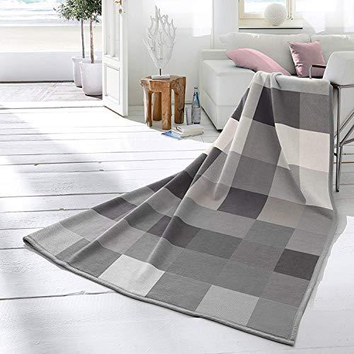 biederlack Wohndecke Cotton Home 9 | Check Coal - 150 x 200 cm