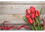 matches21 Tischset Platzset Sommer MOTIV Strauß rote Tulpen auf Holz 1 Stk. Kunststoff abwaschbar je 43,5x28,5 cm