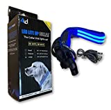 4ID | Ultra Bright, Rechargeable LED Lite Up Dog Collar | 2 Light Settings (Blue, Large)