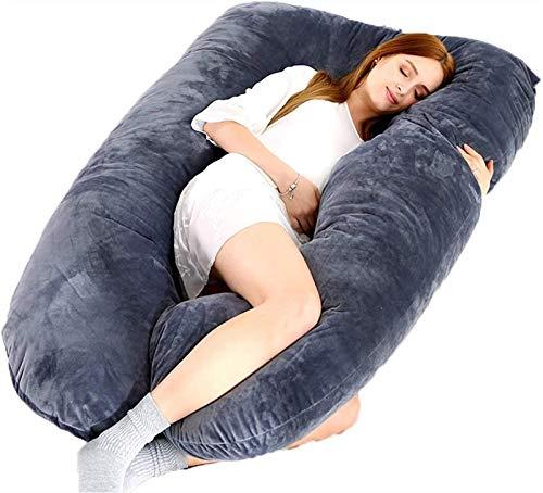 Acogedor Almohada de embarazo para dormir lateral, Terciopelo suave de la almohadilla completa de la forma completa de la forma de U Llena para la maternidad, la enfermería, la alimentación, el brazo,