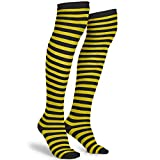 Skeleteen Black and Yellow Socks - Over The Knee Striped Thigh High Costume...