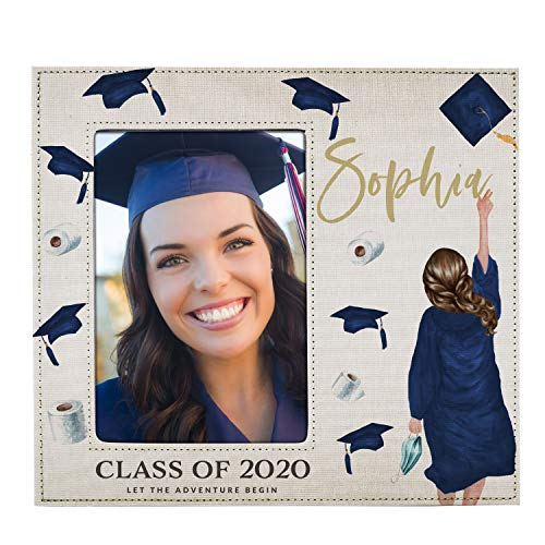 Graduation Gifts for Her 2021, 5x7 Graduation Frame for Women - Choose Hair, Skin Color - Quarantine Graduation, Personalized Graduation Gifts w Names for Graduates, High School, Class of 2020