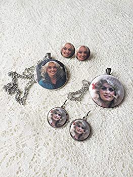 Country Music Legend Inspired Fabric Button Earrings Necklace or Set