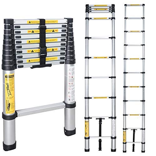 EQUAL Aluminium Extension Telescoping Ladder EN131 Certified 150 kg Capacity (3.2 m/10.5 ft, Black)